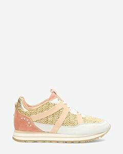 Sneaker-smooth-leather-with-raffia-detail-multi-white-sand-pink
