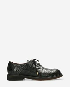 Lace up shoe printed leather black