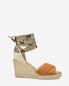 Cognac espadrille wedges with snake print ankle strap