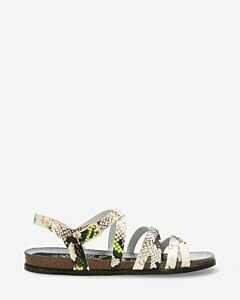 Sandal with cork footbed python printed white yellow