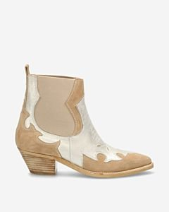 Western-ankle-boot-beige-silver