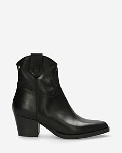 Western-ankle-boot-smooth-leather-black