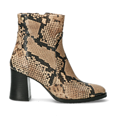 Heeled-ankle-boot-with-snake-printed-leather-Taupe