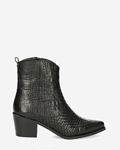 Western-boot-printed-leather-black