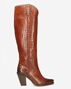 Western boot printed leather brown