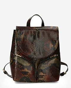 Backpack-shiny-printed-leather-brown