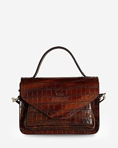Shoulderbag-printed-leather-cognac