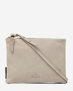 Crossbody natural tanned leather light grey