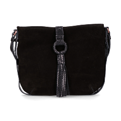 Shoulder-bag-suede-with-printed-leather-Black
