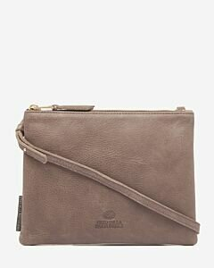 Eveningbag grain leather taupe