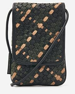 Phone cover woven leather green multi