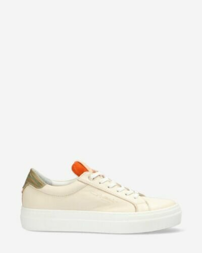 Sneaker smooth leather white and orange