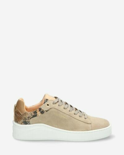 Sneaker suede with croco light taupe