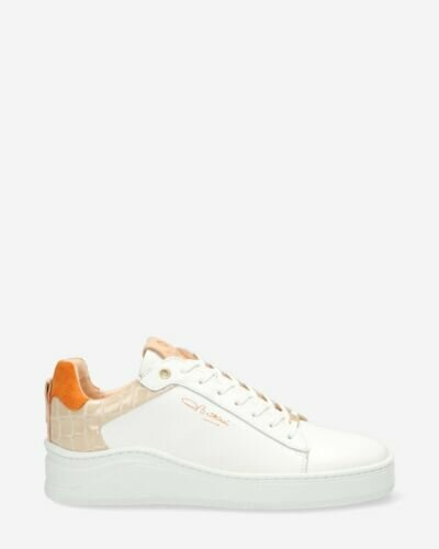 Sneaker smooth leather with crocodile print orange