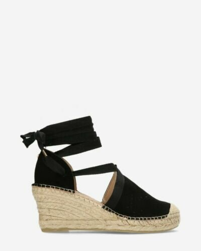 Espadrille with heel and straps black
