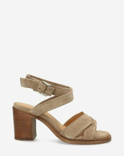 Heeled Sandelette with taupe suede