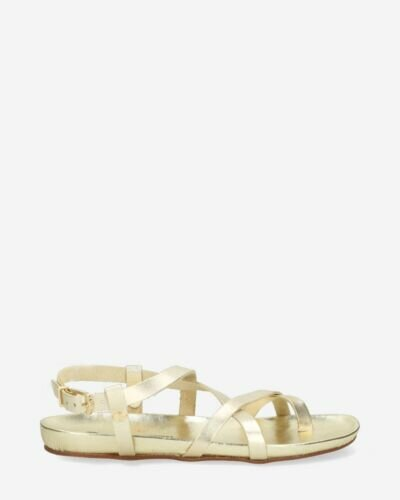 Sandal with covered footbed smooth leather gold