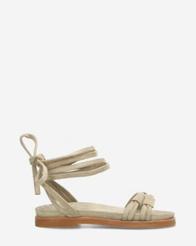 Sandals suede with ankle straps light grey