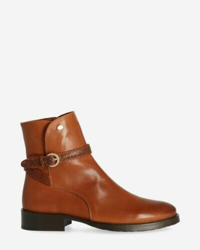 Ankle boot soft grain leather brown