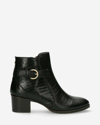 Ankle boot printed leather black