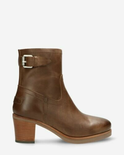 Heeled ankle boot smooth leather taupe