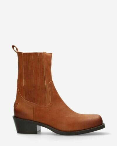 Ankle boot vegetable tanned leather cognac