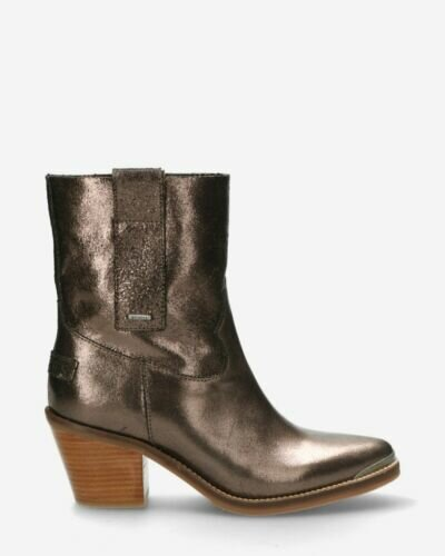 Western boot natural metallic leather black