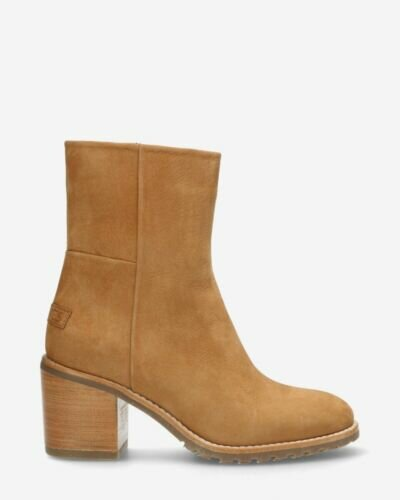 Ankle boot hand buffed leather with zipper brown