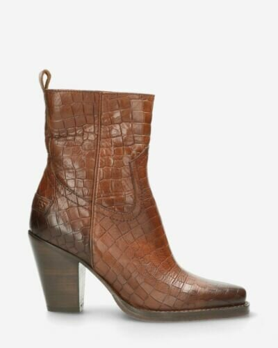 Ankle boot croco printed leather cognac