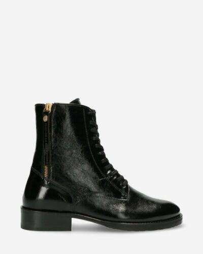Biker boot patent leather black