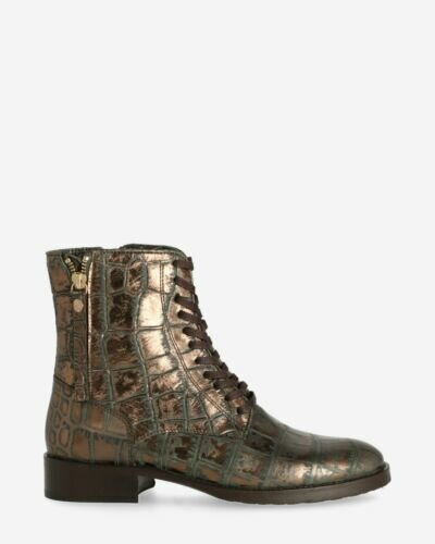 Metallic lace-up boot antracite