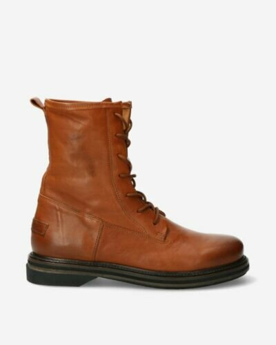 Biker boots smooth leather cognac