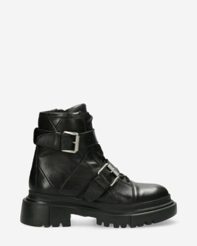 Bikerboot smooth leather with buckles black
