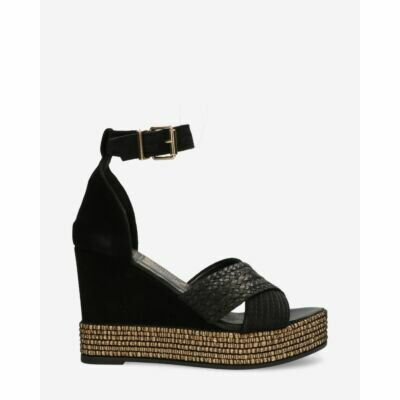 fred de la bretoniere espadrille wedge black suede