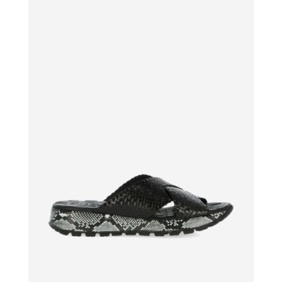 Black slipper with snake print sole