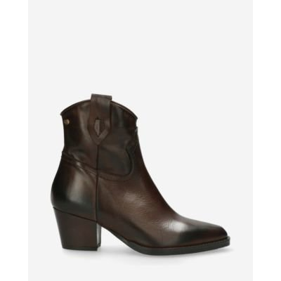 Western-ankle-boot-smooth-leather-dark-brown