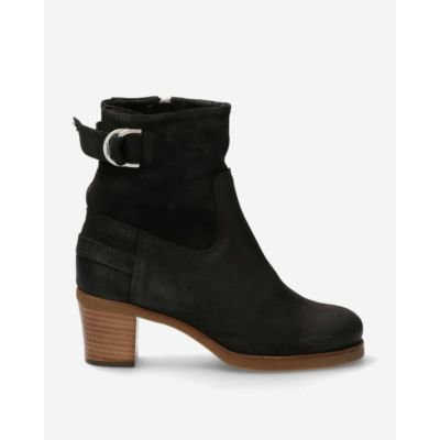 Heeled ankle boot waxed suede black