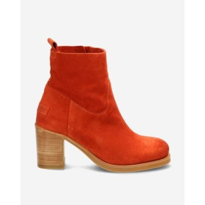 Terracotta-brown-suede-ankle-boot-with-zipper