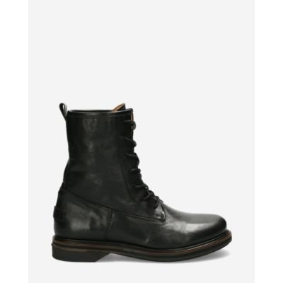 Biker boot smooth leather black