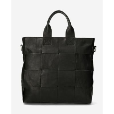 Black-woven-leather-handbag