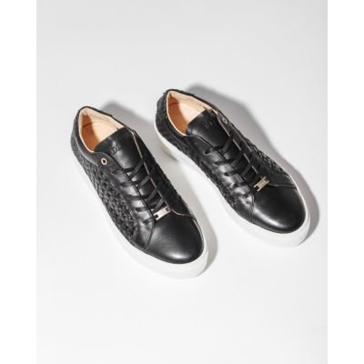 Sneaker-woven-smooth-leather-Black-