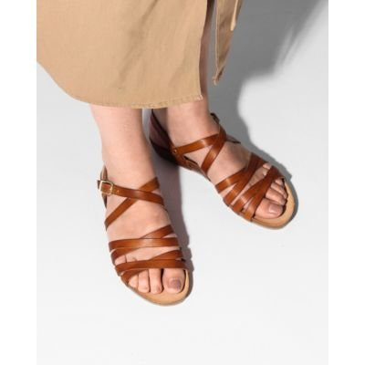 Sandaal-glad-leer-lichtbruin-