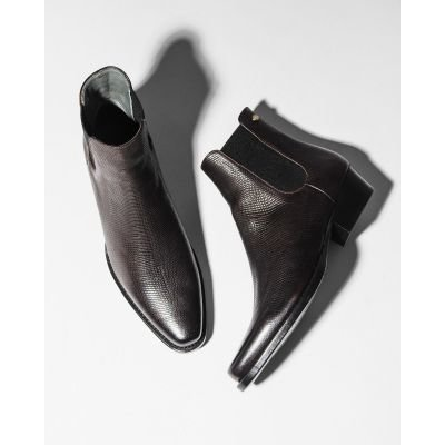 Chelsea-boot-Goodyear-printed-leather-Dark-Brown
