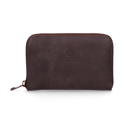 Wallet-small-hand-buffed-leather-Dark-Brown