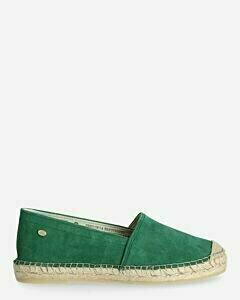 Espadrille loafer suède groen