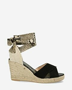 Black espadrille wedges with snake print ankle strap