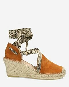 Cognac espadrille wedge with ankle strap