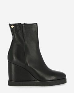 Wedge ankle boot smooth leather black