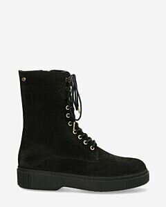 Lace up boot suede black