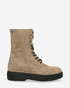 Lace up boot suede taupe